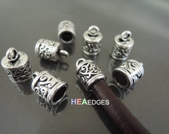 Antique Silver End Cap 5.5mm - 20pcs Finding Silver Leather Cord Ends Cap For Round Leathers 13mm x 8mm ( inside 5.5mm Diameter )