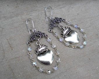 Crown Earrings Heart Earrings Shabby Romantic Earrings Silver Earrings Crystal