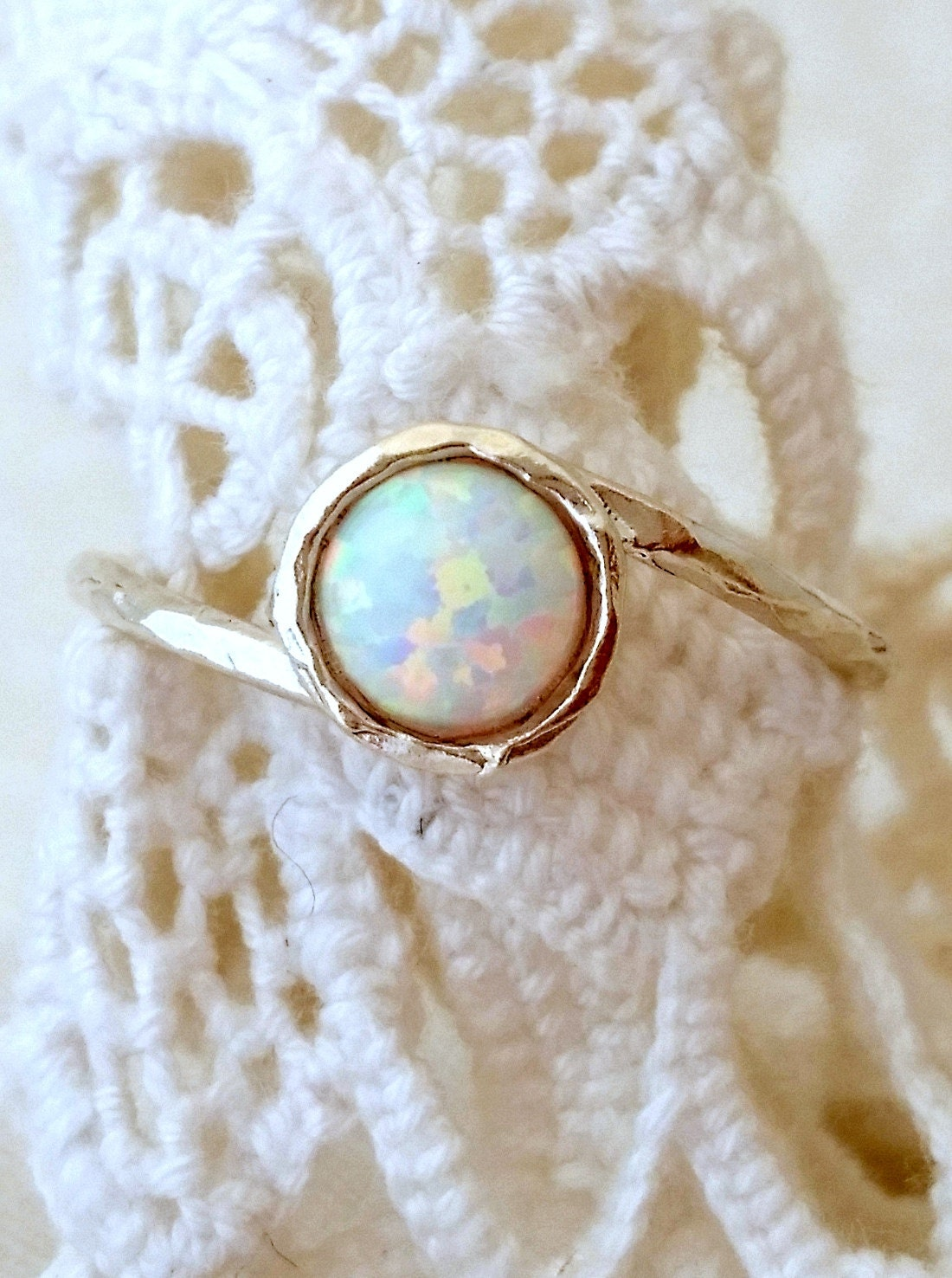 Opal Ring White Opal Ring Silver Opal Ring Gemstone Ring
