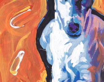Smooth Fox Terrier art print of modern Dog pop art painting bright colors 11x17