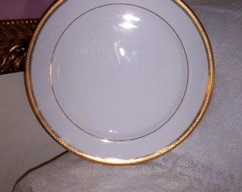 Vintage Gorham China Plate Ridgewood Gold Pattern Round Chop Serving Platter Only 8 USD