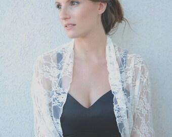 Bridal Lace Shrug  4 Options Wrap Bridal Shawl, Bolero For Bride, Wedding Shawl, Bridal Cover Up, Pearl White Lace Versatile Shawl CL133