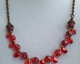 Garnet Swarovski Crystal Necklace