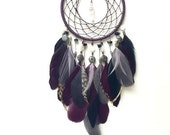 ON SALE 20% OFF - Dream Catcher - Quartz Crystal - Black Onyx - Purple, Gray, Black - Feather Wall Hanging