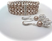 Champagne pearl cuff Bracelet and earrings set ~ Swarovski pearls and crystals ~ Sterling wires ~ Brides jewelry set ~ BEST SELLER