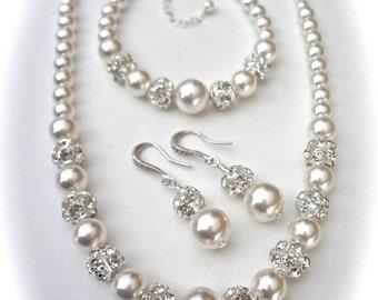 Chunky pearl jewelry set ~ Swarovski pearl and rhinestone set ~ 3 pieces ~ Necklace,Bracelet and Earrings set ~ Brides Jewelry set ~ LOLITA