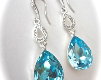 Aquamarine crystal earrings - Brides earrings ~ Something blue ~ Sterling wires - Destination wedding earrings - March birthday ~ Gift