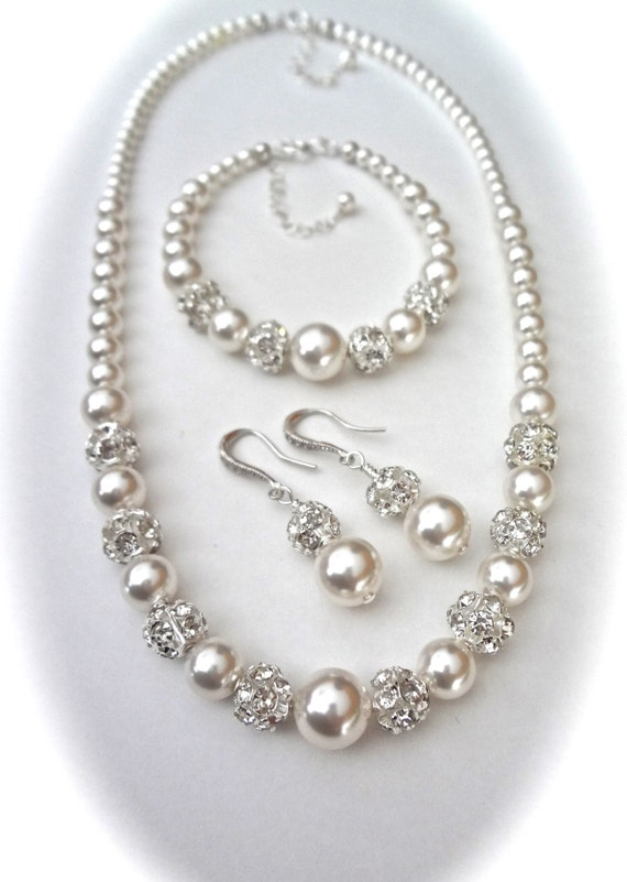 Chunky pearl jewelry set ~ Swarovski pearl and rhinestone set ~ 3 pieces ~ Necklace,Bracelet and Earrings set ~ Brides Jewelry set ~ LOLITA