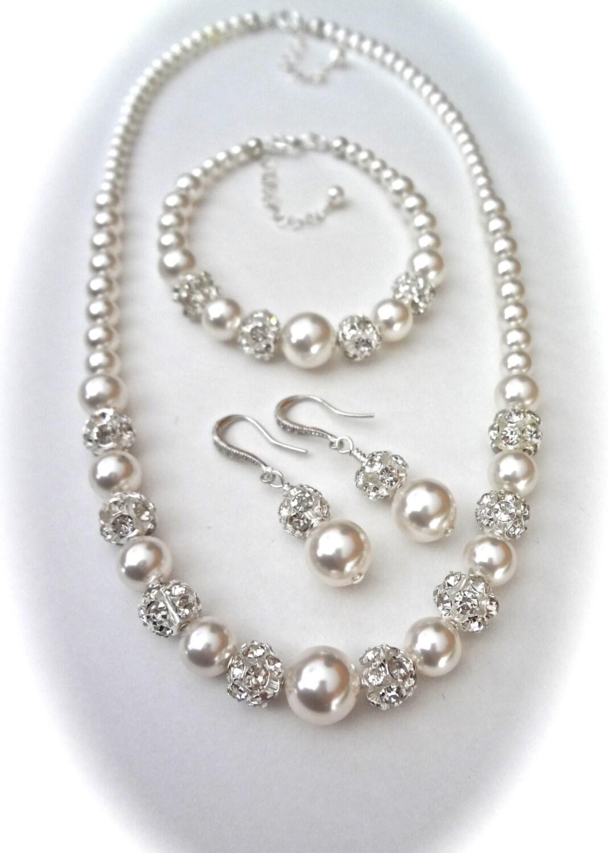 chunky pearl jewelry set swarovski pearl and by
