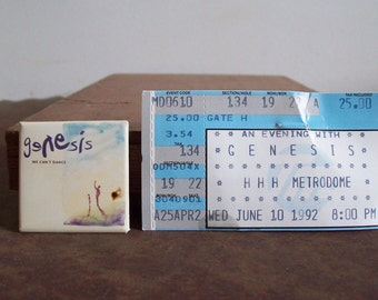 1992 Genesis We Cant Dance pin back button and ticket stub Minneapolis MN June 10 1992 rock concert Free shipping to USA