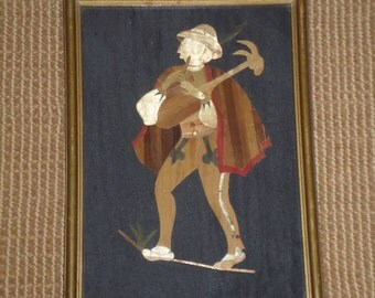 """Handcrafted Art/OOAK/Vintage/Parquetry/Wood """"PIED PIPER"""" Romeo/Musical/Mandolin/Old English"""