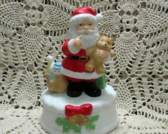 Vintage Santa Claus Music Box with Teddy Bear