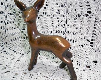 Vintage Copper Colored Deer Figurine Marked Crescent
