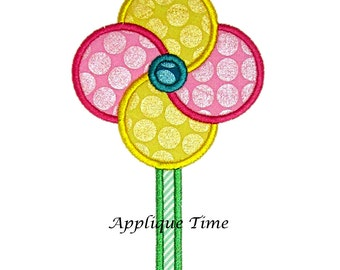 Instant Download Pinwheel Machine Embroidery Applique Design 4x4, 5x7 and 6x10