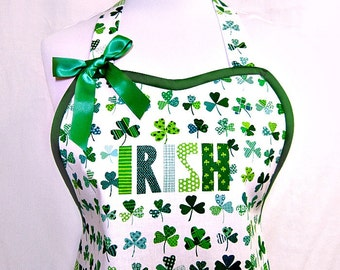Apron IRISH UPON a CLOVER, Shamrocks for St. Patrick's Day, Alexander Henry, Fun Party Hostess Kitchen Gift