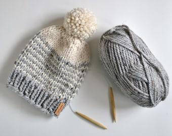 Striped Chunky Beanie // Hand Knitted Beanie With Pom Pom // Chunky Knit Beanie // Women Gift // Winter Hat // Pom Pom Beanie