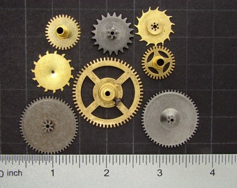 8 Vintage brass gears, antique clock movement gears, brass clock wheels Steampunk Supplies 3296
