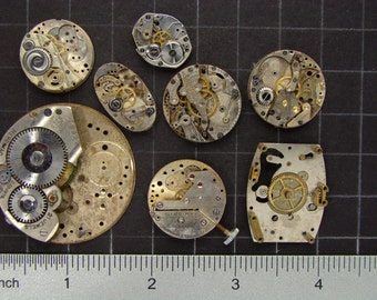 Lot of vintage watch movements antique pocket watch parts with brass and steel gears some with ruby jewels Steampunk Art Supplies 3489