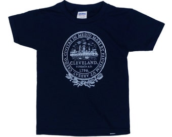 Youth and Toddler Tee - Cleveland City Seal on Navy Blue