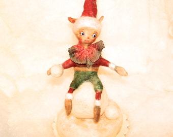 OOAK Spun cotton snowball elf centerpiece vignette vintage craft ornament by jejeMae