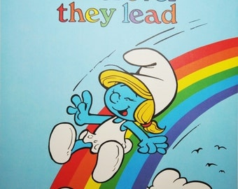 Follow Your Dreams Wherever They Lead - Vintage Smurf Poster from 1980s