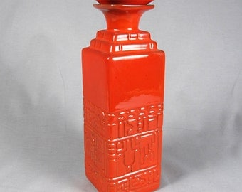 Frankoma mcm Aztec Mayan Decanter, 7JH, Red Orange
