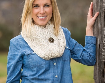 Chunky Cowl Scarf - Crochet Chunky Scarf with Button - Crochet Cowl Neck Warmer Scarves - Wheat White Crochet Cowl Scarf - Wool Scarves