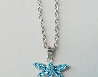 Blue Topaz Crystal Dragonfly Sterling Silver Necklace Minimalist