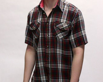 vintage Plaid shirt short sleeve circa 1990s grunge soft wool check casual shirt Red and White Mens Small