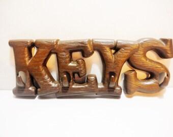 Vintage fois bois key rack storage wall mount retro vintage brown