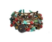 Turquoise chip, tigers eye nugget, and coral rondelle crochet (5X) five wrap bracelet, double wrap necklace