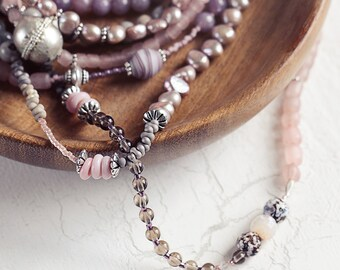Multi Gemstone Necklace - Long Bead Necklace - Pink and Brown Necklace - Unique Necklace for Women - Bohemian jewelry