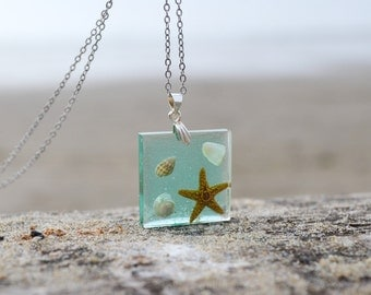 Real Seashell and Starfish Resin Pendant Ocean Beach