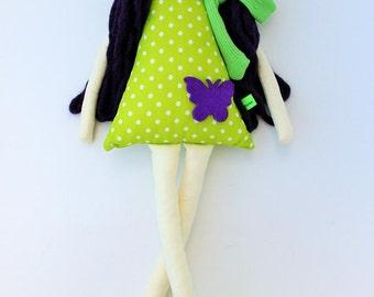 New '''' , Shyla , soft doll, handmade  rag doll, wearing  beret ,scarf and socks ,  ready to ship,stuffed doll
