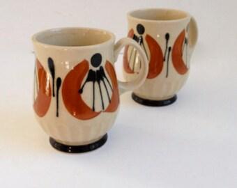 Mid Century Japanese Stoneware Mugs