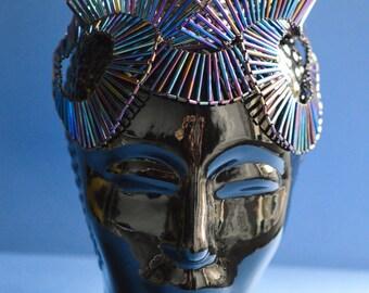 Art Deco inspired beaded fantasy Headpiece:  ready to ship one off piece