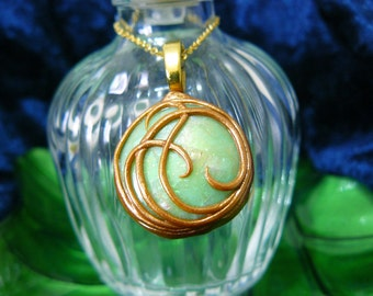 Glow in the Dark Polymer Clay Opalescent Green Pendant with Gold