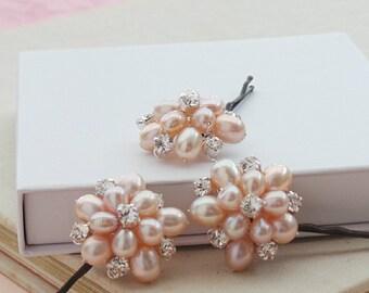 Pink Flora Pearl Floral Bridal Hair Pins Rose Flower Pearls Wedding Hair Clips Bridesmaid Accessories Real Pearls Hair Grips
