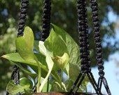CLASSIC Handmade Macrame Plant Hanger Holder with Wood Beads - 4mm Braided Poly Cord in BLACK