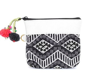 White Leather Coin Pouch Wallet Embroidered Fabric Handmade Thailand ( (BG290XL-10C24)