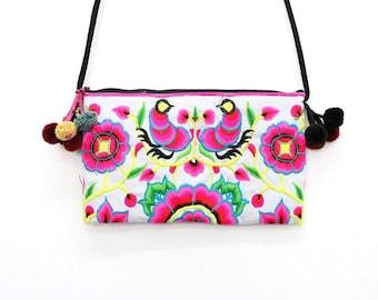 Flower Embroidered HMONG Purse Cross-Over Bag Pom Pom Strap Handmade Thailand (BG811-WW)