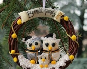 Christmas wreath personalized, our first Christmas ornament as a family, baby's first Christmas, white and silver owls with baby owls