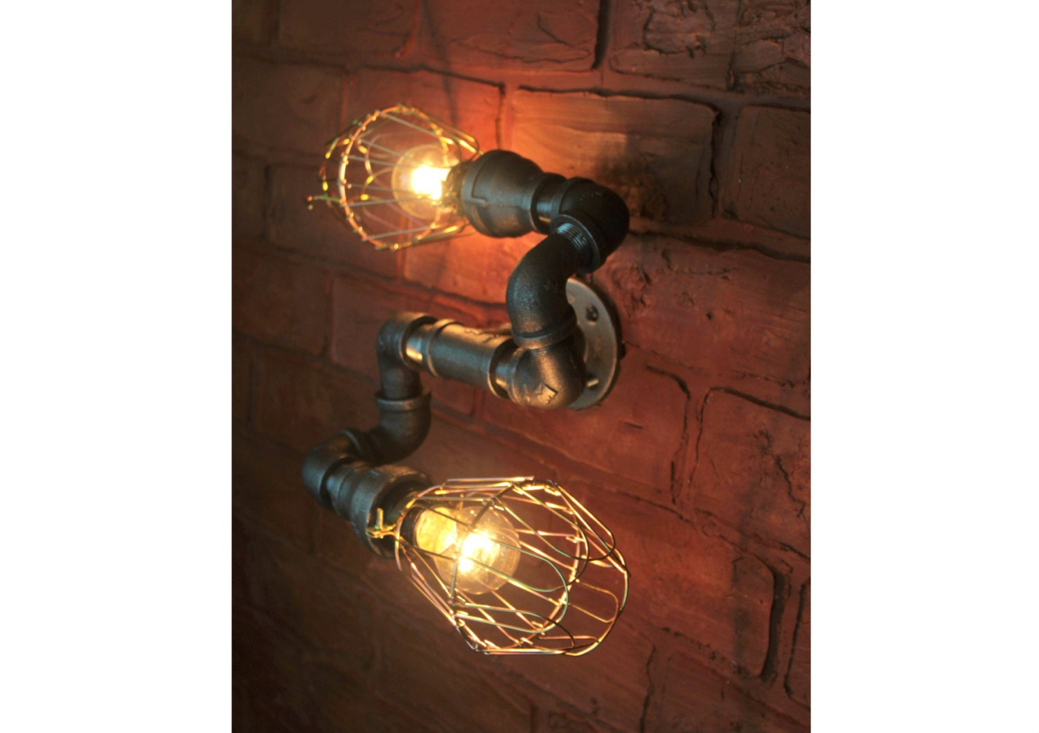 Industrial Pipe Lighting Brass Cages Wall Art Steampunk