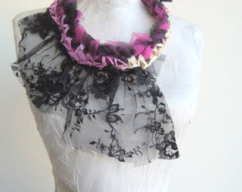 Fabric collar pink and black/bold lace necklace fabric/avantgarde statement fiber art