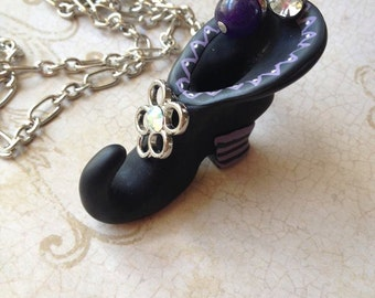 Halloween Witch's Boot Shoe Charm Necklace Jewelry