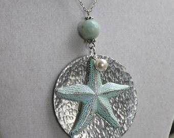 Distressed Aluminum Round Blue Starfish Necklace, Beach Jewelry, starfish jewelry, Summer Jewelry