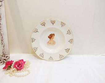 Antique Victorian Bowl/ Gold and White Victorian Women Bowl Serving Dish