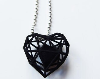 3D printed wireframe heart necklace - Black