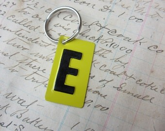 Vintage Metal Letter E Sign Name Initial E Keychain Letter Tag Industrial Sign Black & Yellow Metal Sign Key Chain Fob vtg Upcycled Key Tag