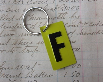 Vintage Metal Letter F Sign Name Initial F Keychain Letter Tag Industrial Sign Black & Yellow Metal Sign Key Chain Fob vtg Upcycled Key Tag
